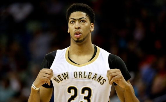 Mar 4, 2015; New Orleans, LA, USA; New Orleans Pelicans forward Anthony Davis (23) against the Detroit Pistons during the second half of a game at the Smoothie King Center. The Pelicans defeated the Pistons 88-85. Mandatory Credit: Derick E. Hingle-USA TODAY Sports