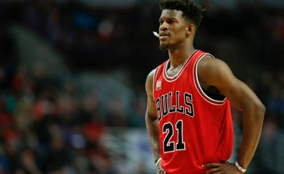 Chicago Bulls guard Jimmy Butler looks on against the Philadelphia 76ers during the second half of an NBA basketball game, Wednesday, April 13, 2016 in Chicago. The Bulls won 115-105. (AP Photo/Kamil Krzaczynski)