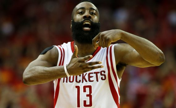 HOUSTON, TX - MAY 17:  James Harden #13 of the Houston Rockets celebrates in the fourth quarter against the Los Angeles Clippers during Game Seven of the Western Conference Semifinals at the Toyota Center for the 2015 NBA Playoffs on May 17, 2015 in Houston, Texas. NOTE TO USER: User expressly acknowledges and agrees that, by downloading and/or using this photograph, user is consenting to the terms and conditions of the Getty Images License Agreement.  (Photo by Scott Halleran/Getty Images)