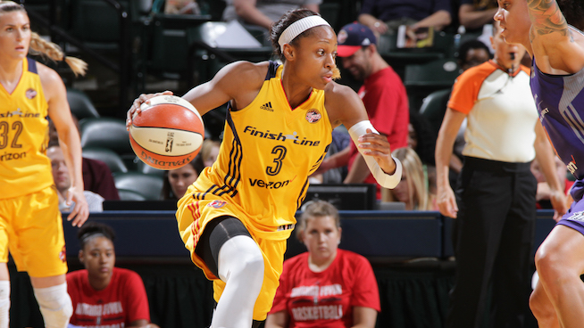 INDIANAPOLIS, IN - AUGUST 30:  Tiffany Mitchell #3 of the Indiana Fever drives to the basket against the Phoenix Mercury on August 30, 2016 at Bankers Life Fieldhouse in Indianapolis, Indiana. NOTE TO USER: User expressly acknowledges and agrees that, by downloading and or using this Photograph, user is consenting to the terms and conditions of the Getty Images License Agreement. Mandatory Copyright Notice: Copyright 2016 NBAE (Photo by Ron Hoskins/NBAE via Getty Images)