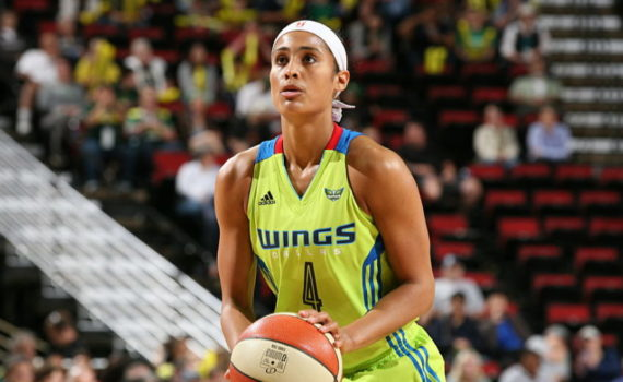 SEATTLE, WA - JUNE 30:  Skylar Diggins #4 of the Dallas Wings shoots a free throw against the Seattle Storm on June 30, 2016 at Key Arena in Seattle, Washington. NOTE TO USER: User expressly acknowledges and agrees that, by downloading and/or using this Photograph, user is consenting to the terms and conditions of Getty Images License Agreement. Mandatory Copyright Notice: Copyright 2016 NBAE (Photo by Joshua Huston/NBAE via Getty Images)