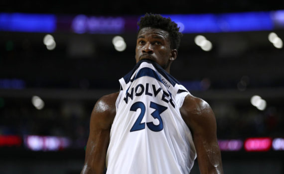 SHANGHAI, CHINA - OCTOBER 05: Jimmy Butler #23 of the Minnesota Timberwolves looks on during the game between the Minnesota Timberwolves and the Golden State Warriors as part of 2017 NBA Global Games China at Mercedes-Benz Arena on October 8, 2017 in Shanghai, China. (Photo by Zhong Zhi/Getty Images)