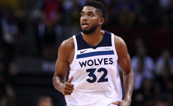 SHENZHEN, CHINA - OCTOBER 05:  Karl-Anthony Towns #32 of the Minnesota Timberwolves looks on during the game between the Minnesota Timberwolves and the Golden State Warriors as part of 2017 NBA Global Games China at Universidade Center on October 5, 2017 in Shenzhen, China.  (Photo by Zhong Zhi/Getty Images)