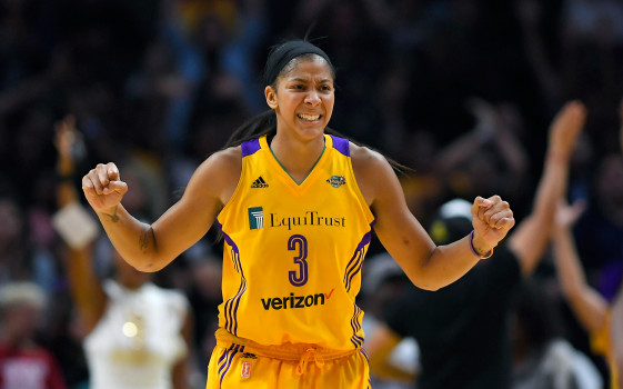 Los Angeles Sparks forward Candace Parker celebrates after they scored during the second half in Game 3 of the WNBA basketball finals against the Minnesota Lynx, Friday, Sept. 29, 2017, in Los Angeles. The Sparks won 75-64. (AP Photo/Mark J. Terrill)