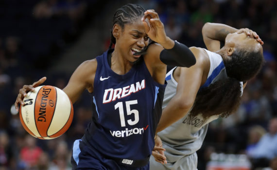 Tiffany Hayes(15) gets a technical for an elbow and Rebekkah Brunson(32) got called for a foul. ] The Minnesota Lynx take on the Atlanta Dream at Target Center on 8/5/18.Richard Tsong-Taatariiïrtsongtaatarii@startribune.com