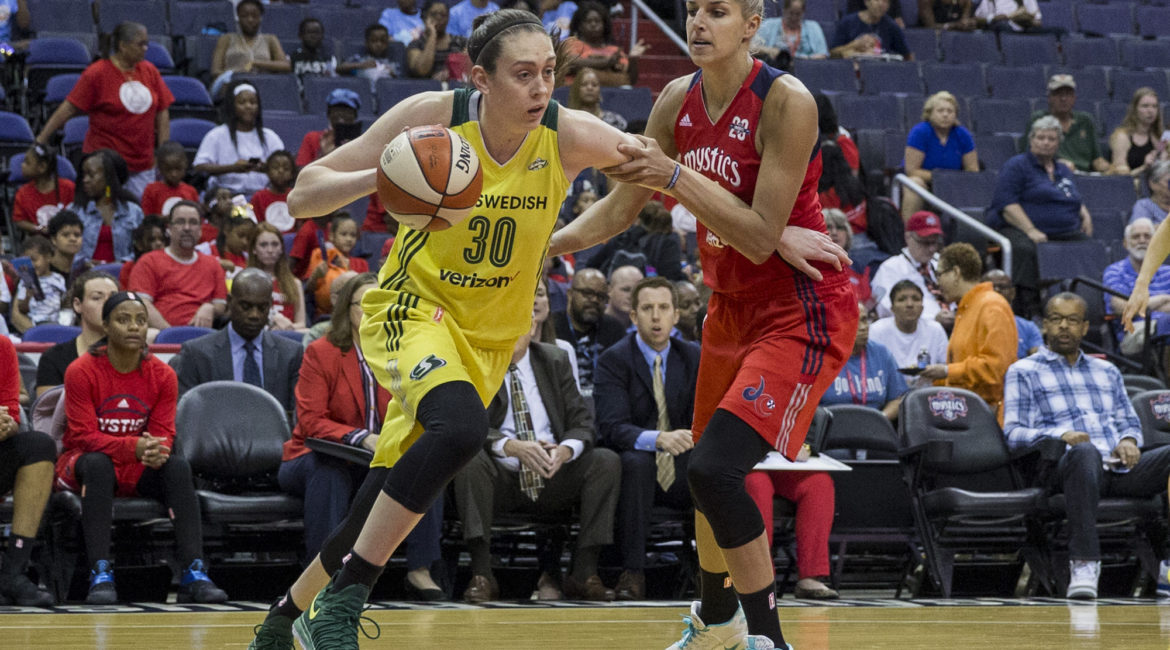 WASHINGTON, DC - JUNE 27: Seattle Storm forward Breanna Stewart (30) dribbles past Washington Mystics guard Elena Delle Donne (11) during a WNBA game between the Washington Mystics and the Seattle Storm on June 27, 2017, at the Verizon Center, in Washington DC. The Mystics defeated the Storm 100-70. (Photo by Tony Quinn/Icon Sportswire) (Icon Sportswire via AP Images)
