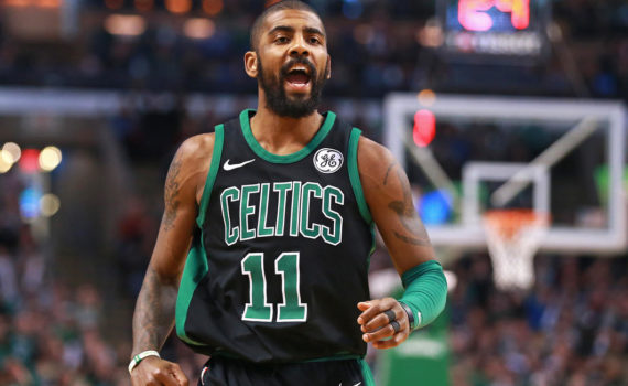(12/31/2017- Boston, MA) After hitting a three pointer, Boston Celtics guard Kyrie Irving vents in the second quarter against the Brooklyn Nets at TD Garden on Sunday, December 31, 2017. Staff Photo by Matt West