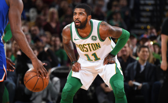 BOSTON, MA - NOVEMBER 21: Kyrie Irving #11 of the Boston Celtics plays defense against the New York Knicks on November 21, 2018 at TD Garden in Boston, Massachusetts. NOTE TO USER: User expressly acknowledges and agrees that, by downloading and/or using this Photograph, user is consenting to the terms and conditions of the Getty Images License Agreement. Mandatory Copyright Notice: Copyright 2018 NBAE (Photo by Brian Babineau/NBAE via Getty Images)
