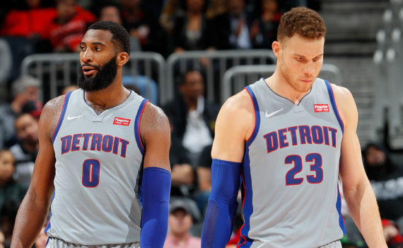 ATLANTA, GA - FEBRUARY 11:  Blake Griffin #23 and Andre Drummond #0 of the Detroit Pistons react in the final seconds of their 118-115 loss to the Atlanta Hawks at Philips Arena on February 11, 2018 in Atlanta, Georgia.  NOTE TO USER: User expressly acknowledges and agrees that, by downloading and or using this photograph, User is consenting to the terms and conditions of the Getty Images License Agreement.  (Photo by Kevin C. Cox/Getty Images)
