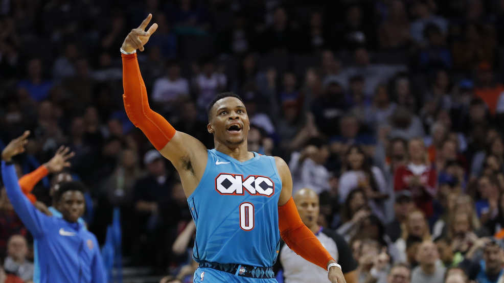 Oklahoma City Thunder guard Russell Westbrook reacts after shooting a 3-pointer against the Atlanta Hawks during the first half of an NBA basketball game in Oklahoma City, Friday, Nov. 30, 2018. (AP Photo/Alonzo Adams)