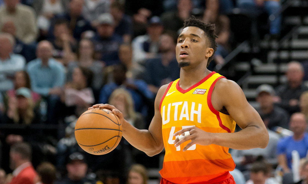 Apr 3, 2018; Salt Lake City, UT, USA; Utah Jazz guard Donovan Mitchell (45) dribbles up the court during the second half against the Los Angeles Lakers at Vivint Smart Home Arena. Mandatory Credit: Russ Isabella-USA TODAY Sports ORG XMIT: USATSI-363385 ORIG FILE ID:  20180403_lbm_ai4_289.JPG
