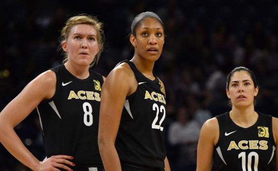 CHICAGO, IL - JULY 10: Las Vegas Aces center A'ja Wilson (22) looks on with teammates during the game against the Chicago Sky on July 10, 2018 at the Wintrust Arena in Chicago, Illinois. (Photo by Quinn Harris/Icon Sportswire) (Icon Sportswire via AP Images)