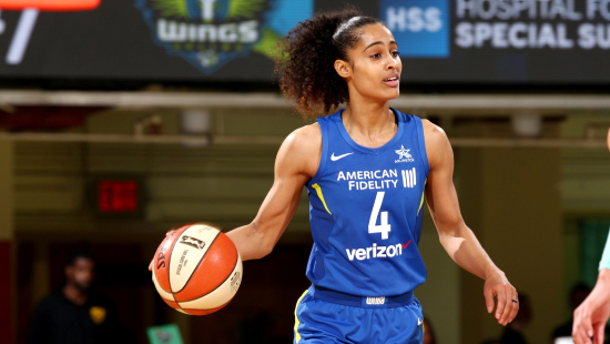 WHITE PLAINS, NY- JULY 8: Skylar Diggins-Smith #4 of the Dallas Wings handles the ball during the game against the New York Liberty on July 8, 2018 at Westchester County Center in White Plains, New York. NOTE TO USER: User expressly acknowledges and agrees that, by downloading and or using this photograph, User is consenting to the terms and conditions of the Getty Images License Agreement. Mandatory Copyright Notice: Copyright 2018 NBAE (Photo by Jon Lopez/NBAE via Getty Images)