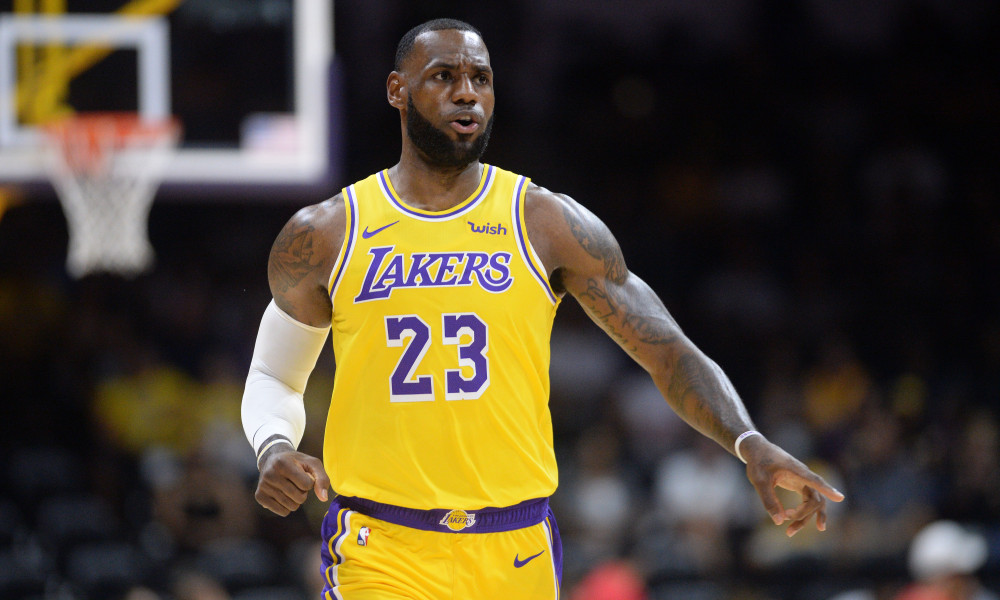Sep 30, 2018; San Diego, CA, USA; Los Angeles Lakers forward LeBron James (23) gestures during the first quarter against the Denver Nuggets at Valley View Casino Center. Mandatory Credit: Orlando Ramirez-USA TODAY Sports ORG XMIT: USATSI-385948 ORIG FILE ID:  20180930_ggw_rb5_112.JPG